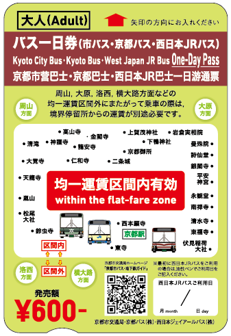 Kyoto City Bus & Subway Information Guide:Bus One-Day Pass